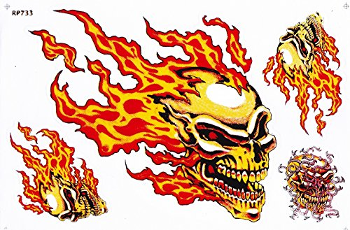 flame fire bike car 1 sheet 28 x 18 cm Vinyl Sticker Decal Label pair of Eagle skull panther star