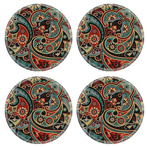 Luxlady Natural Rubber Round Coasters IMAGE ID: 38387287 Seamless pattern based on traditional Asian elements Paisley - Kidney Shape Accent Table