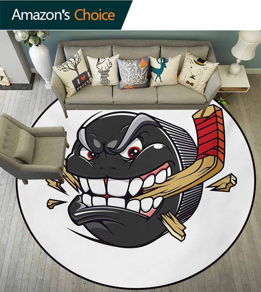 RUGSMAT Hockey Non-Slip Area Rug Pad Round,Cartoon Hockey Puck Bites and Breaks Hockey Stick Championship Game Mascot Character Protect Floors While Securing Rug Making Vacuuming,Round-59 Inch