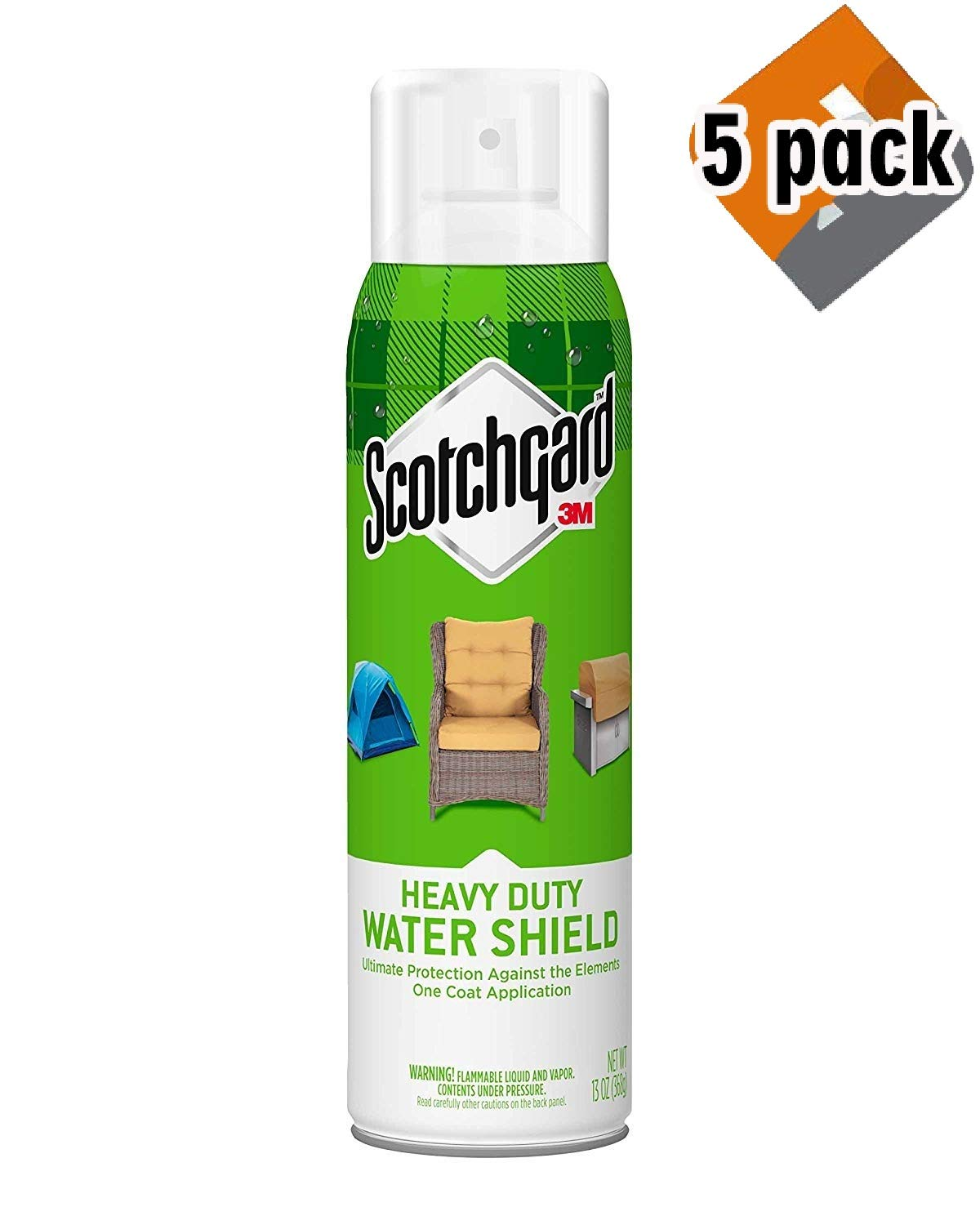 Scotchgard Heavy Duty Water Shield Protector, 1 Can, 13-Ounces (5 Pack)
