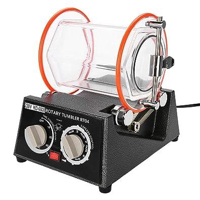 Filfeel La máquina pulidora de Tambores de joyería, rotación en Dos direcciones, se Puede rotar regularmente (10, 20, 30, 40, 50min), Ajustable en 5 ...