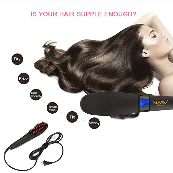 nasv pelo cabello cepillo eléctrico calefacción para más grueso/rizos/común/fina/suave pelo calor up-quickly con pantalla LCD de la temperatura calor ...