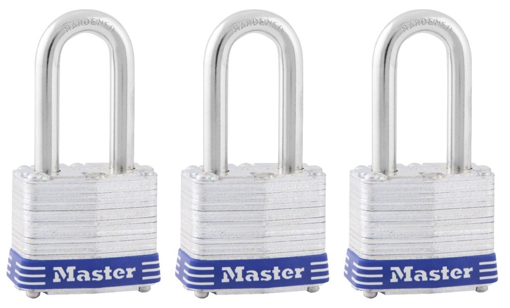 Master Lock Padlock, Laminated Steel Lock, 1-9/16 in. Wide, 3TRILF (Pack of 3-Keyed Alike), 3 Pack 3 Piece
