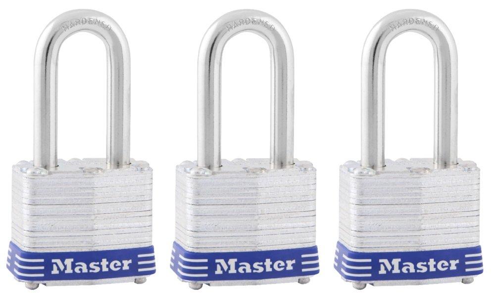 Master Lock Padlock, Laminated Steel Lock, 1-9/16 in. Wide, 3TRILF (Pack of 3-Keyed Alike)