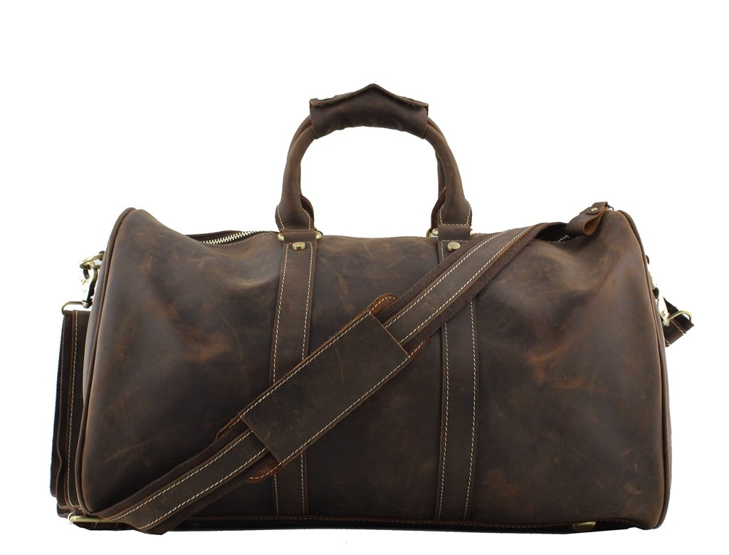 Jiao Miao Leather Travel Duffle Bag Overnight Weekend Luggage Carry On Airplane Underseat ,170901-04