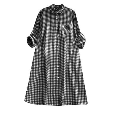 6d9c15c4 Plaid Tops MEEYA Women's Casual Plus Size Tunic Button Down Long Sleeve Pocket  Shirt Dress