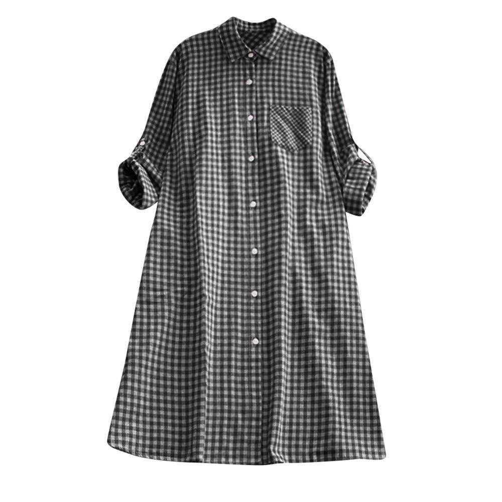 Women's Dresses Long Sleeve Casual Plaid Plus Size Tunic Button Down Pocket Shirt Dress Ladies Mini Dress