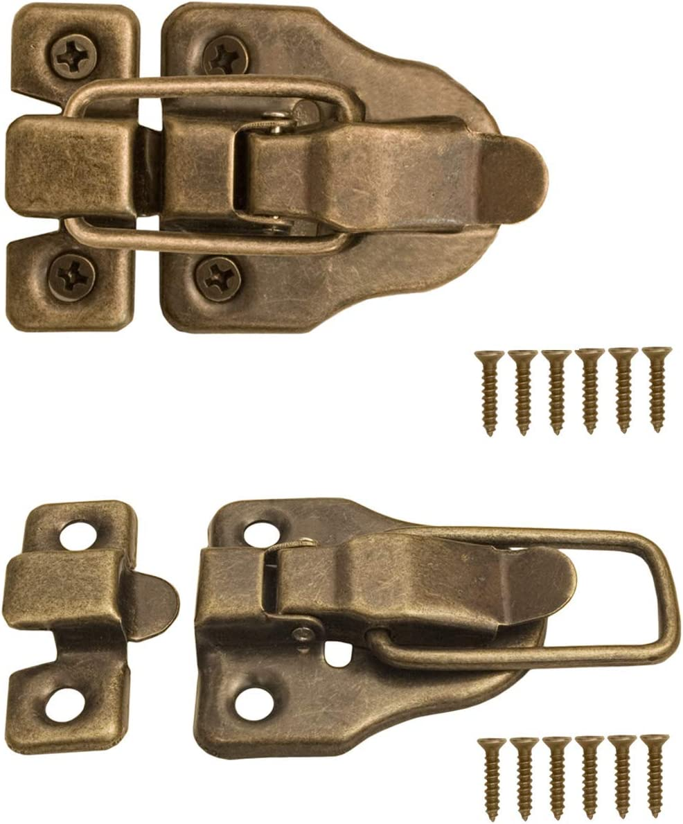 FUXXER® 2 x Cierres para baúles, cajas, maletas, herrajes metálicos Vintage latón, Juego de 2 unidades con tornillos, 59 mm x 40 mm