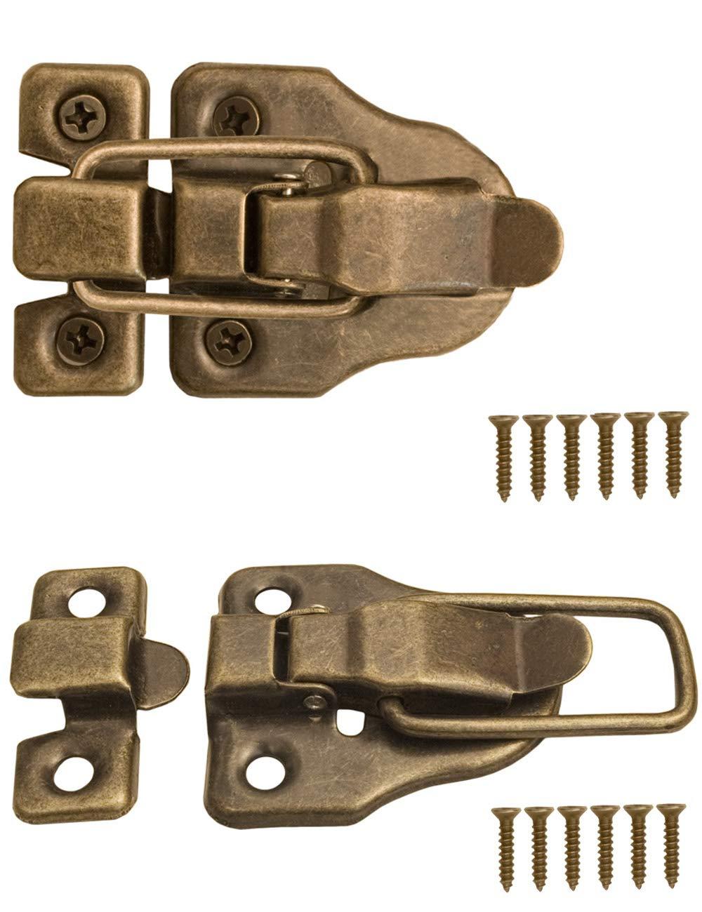 FUXXER® – 2 x chiusure per casse, scatole, valigie per serratura per tende, design vintage, in ottone, set da 2 con viti, 59 mm x 40 mm