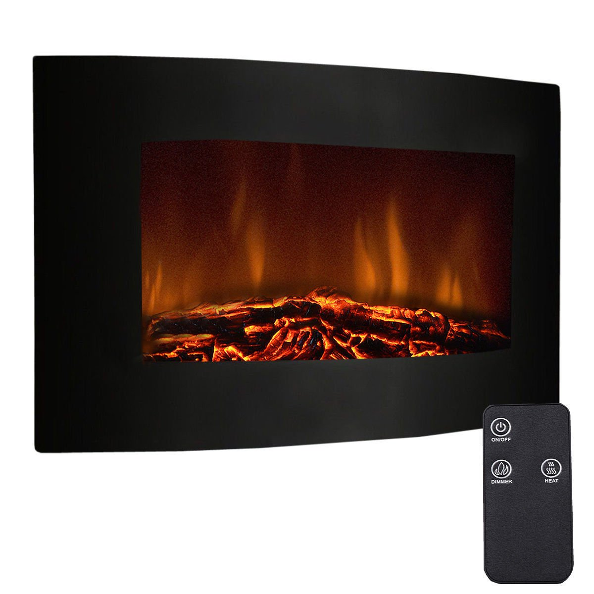 Tangkula 35'' Recessed Electric Fireplace, Adjustable Electric Wall Mount Fireplace Heater with Remote Control, 750W-1500W, Black by Tangkula