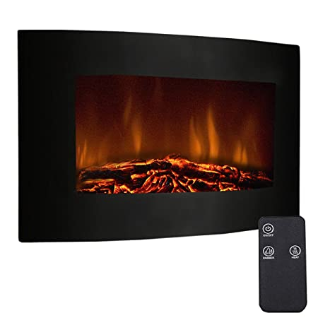 Tangkula 35 Recessed Electric Fireplace, Adjustable Electric Wall Mount Fireplace Heater with Remote Control, 750W-1500W, Black