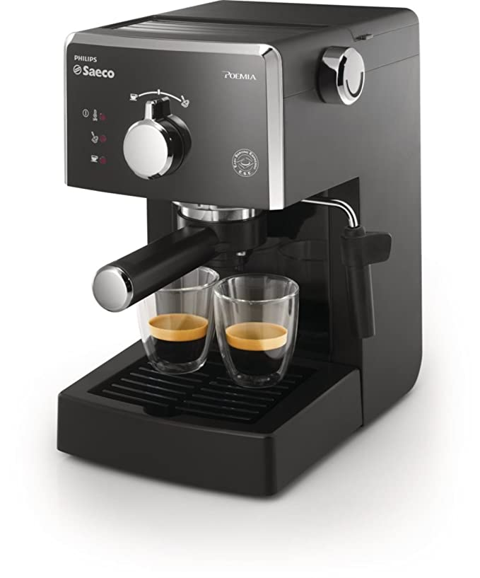 Saeco HD8323/01 - Cafetera Saeco Poemia espresso manual negra ,950W,con Café molido y Easy Serving Espresso (ESE),Bomba de 15 bares, filtro a presión ...