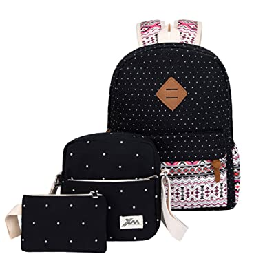 f54c7750e697 Image Unavailable. Image not available for. Color  HONEYJOY Canvas Backpack  Set 3 Pieces Kids Book Bag School Backpack Handbag Purse Girls Teen (