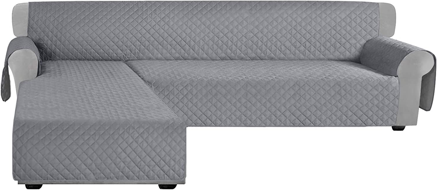 Granbest Sofa Covers for L Shape Sofa Reversible Sectional Couch Covers Chaise Lounge Sofa Sip Cover for Dogs Pets Non Slip Furniture Protector with Foams Sticks (X-Large, Light Gray)
