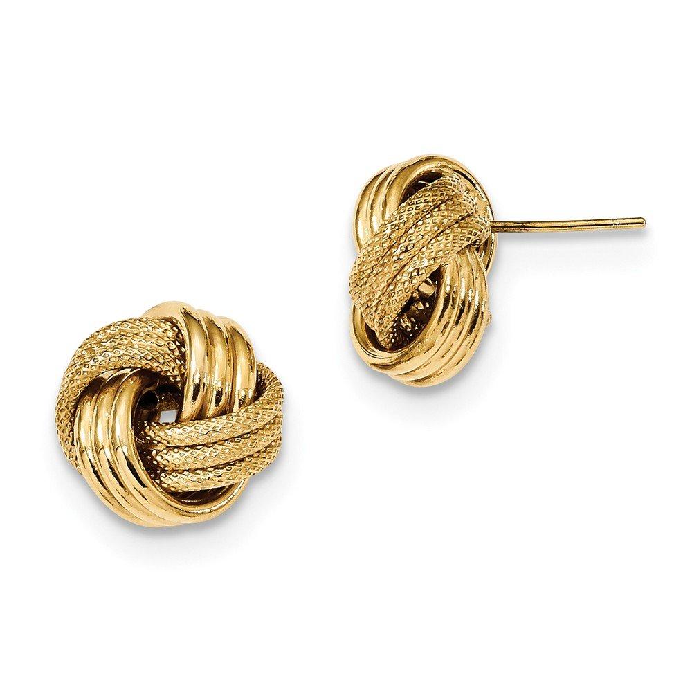 14k Polished Textured Triple Love Knot Post Earrings
