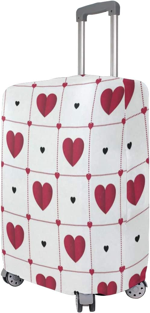 Suitcase Cover Romantic Hearts In Lattice Luggage Cover Travel Case Bag Protector for Kid Girls