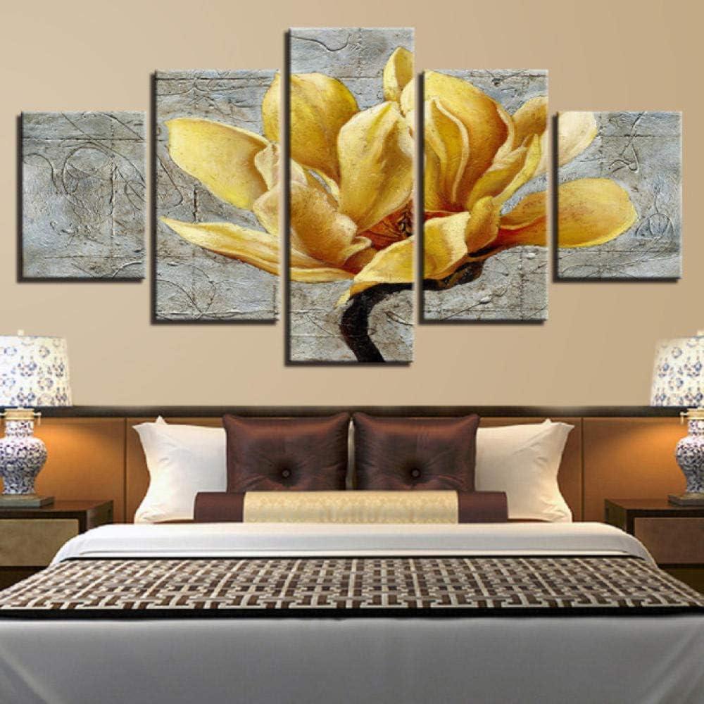 Ssckll Lienzo HD Imprime Fotos Decoración para El Hogar 5 Piezas Oro Amarillo Flores Pinturas Orquídea Dorada Carteles Salón Arte De La Pared-con Marco