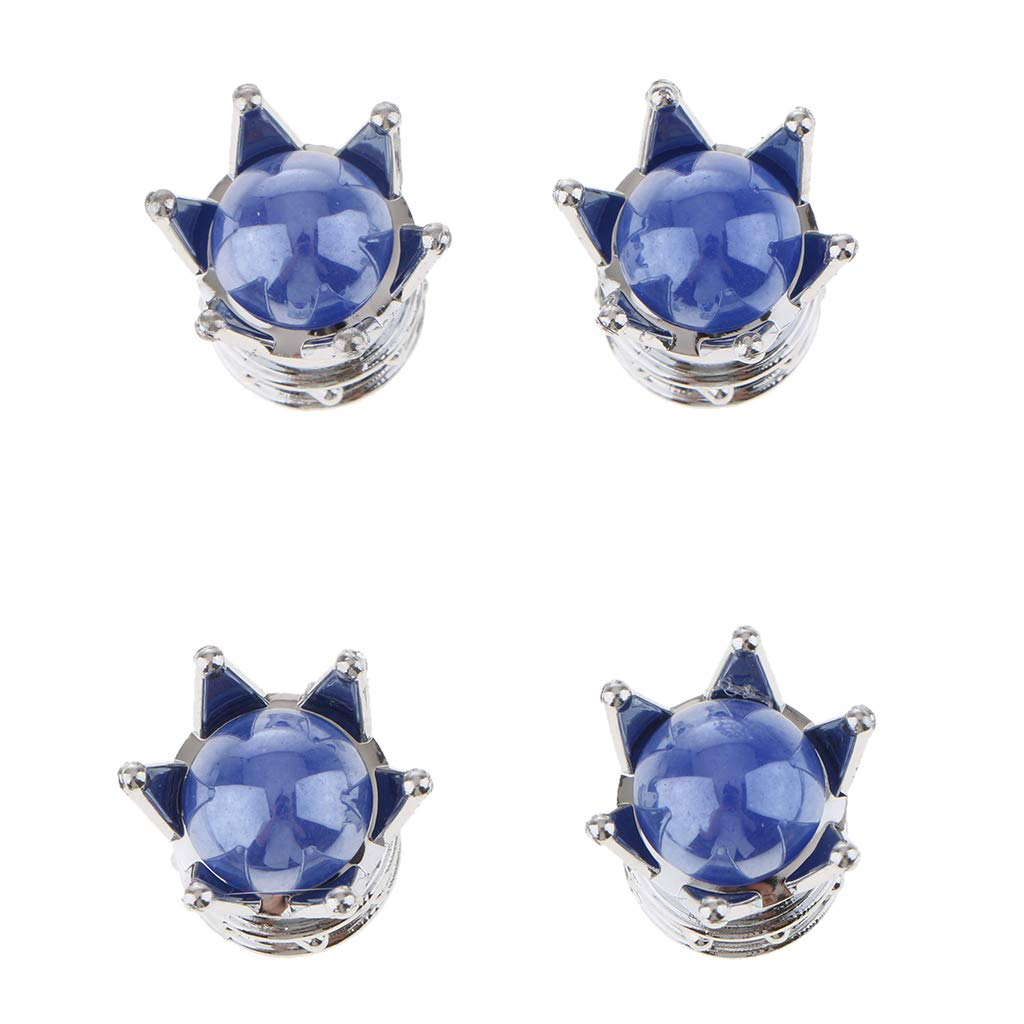 MagiDeal 4 Piezas de Corona de Diamante Bling//Tapas de V/álvula de V/ástago de Rueda para Coches Azul