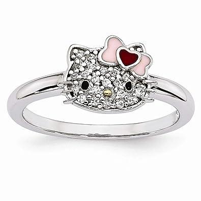 0871d17e5 Sterling Silver Themed Ring Enamel Pink Red Black Hello Kitty Gold-tone  Nose Enamel Swarovski Ring|Amazon.com
