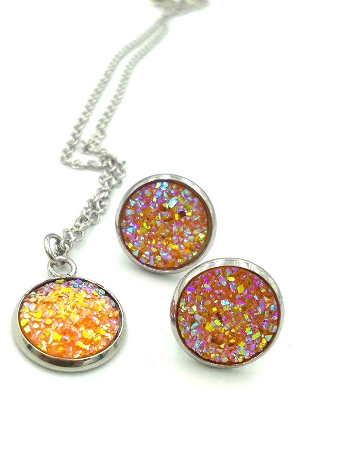 luo 12set/Pack 12colors Jewelry Sets Fashion druzy Necklace Earrings Wedding Party Accessories Women luo ri xian
