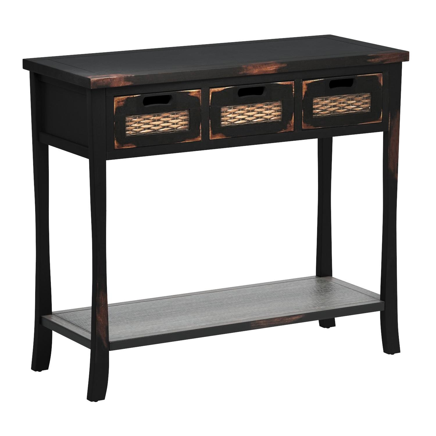 Safavieh American Home Collection Filton Distressed Black Three Drawer Console Table