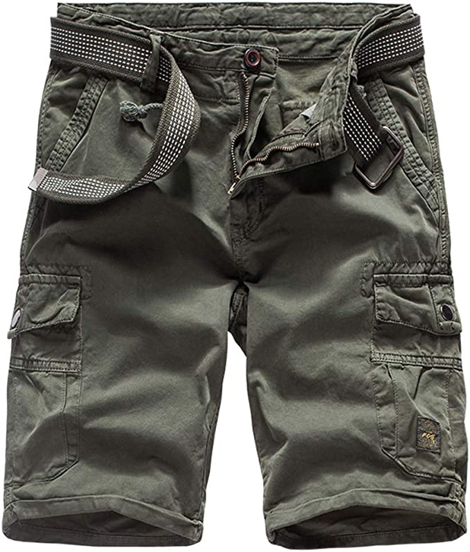APTRO Mens Cargo Shorts Relaxed Fit Multi-Pockets Elastic Waist Cotton Shorts Outdoor Casual Cargo Shorts