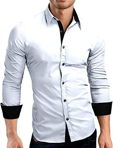 Yasminey Camisa De Los Hombres De Chic Moda Ropa De Los Hombres De Moda De Abajo del Cuello del Soporte Camisas Ocio Slim Fit Jersey Camisa del Suéter De Negocios Boda: Amazon.es: