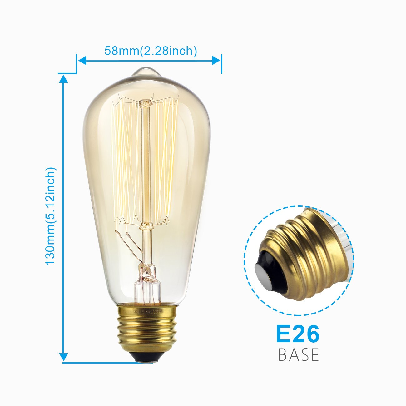SHINE HAI Vintage Edison Bulbs 60W, Antique Style ST58 Squirrel Cage Filament, 300 Lumens, Dimmable Teardrop Design, E26 Medium Base 2300K, Pack of 6