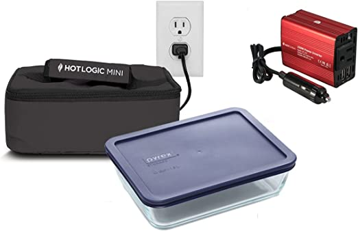 Amazon Com Hot Logic Mini Deluxe Package With 6 Cup Glass Dish And 150watt Hot Logic Power Inverter For Vehicle Use Black Kitchen Dining