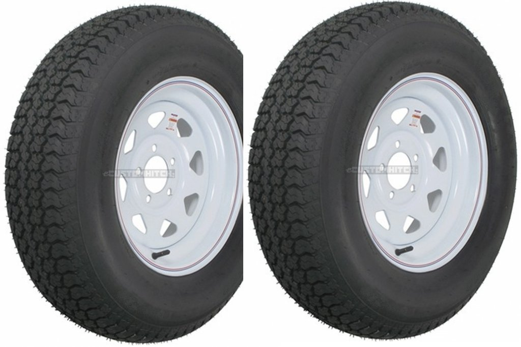 2-Pack Trailer Wheel & Tire #415 ST175/80R13 LRC 5 Hole Steel White Spoke