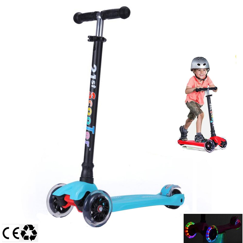 Micro 3 Wheel Scooter for Kids 4 Years Old and Up Scooters for Toddlers with Adjustable Height 180lb (Blue)