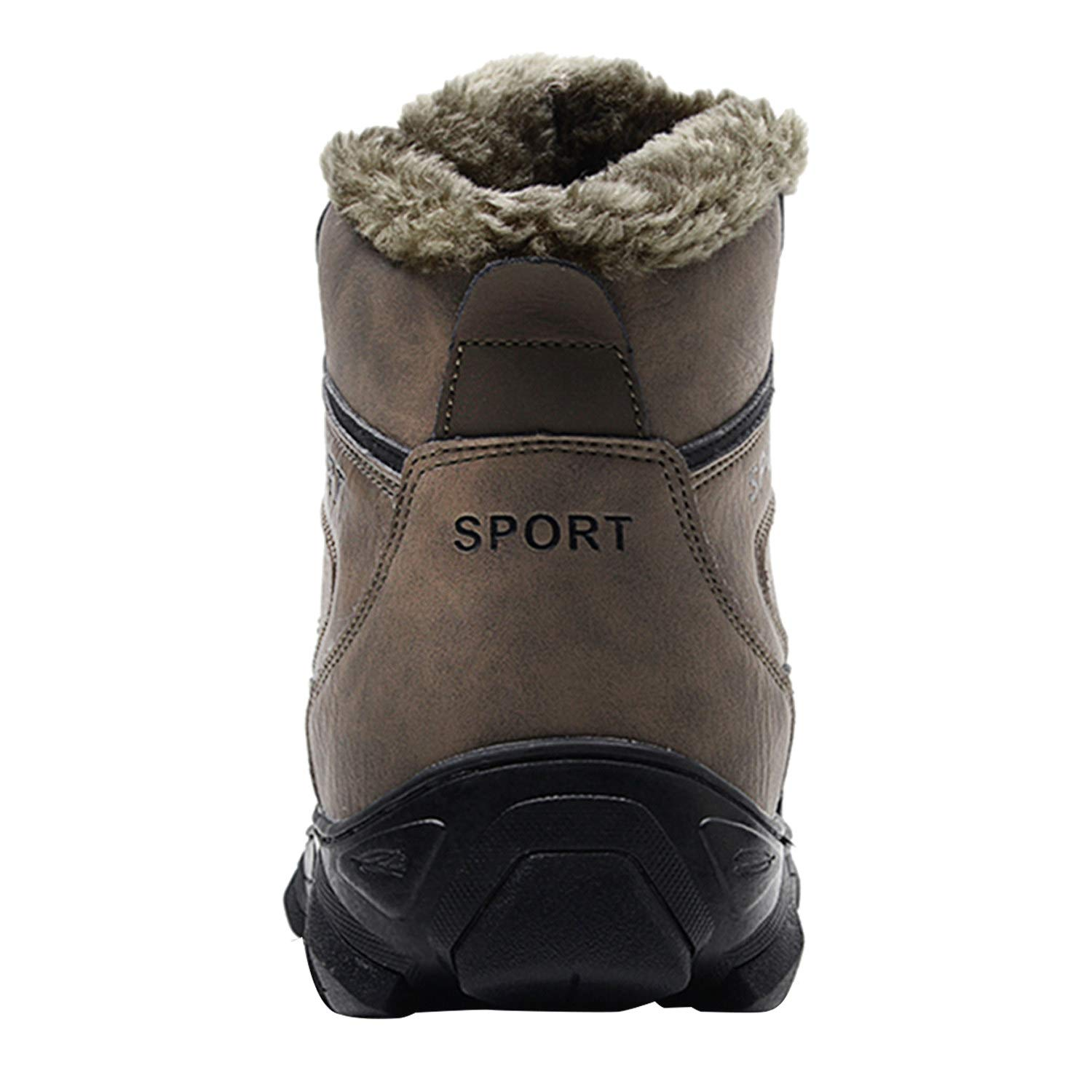 Barerun Winter Mens Snow Boots for Men Fur Lining Leather Rubber Sole Ankle Booties