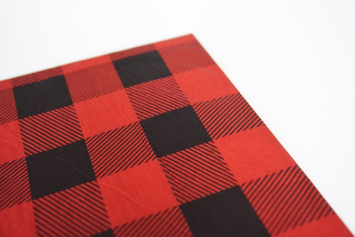 Holiday Gift Wrapping Paper Christmas Gift Wrapping Paper Lumberjack Party Favor Bags DIY tissue paper Kit Red Buffalo Plaid Tissue Paper Kit Lumberjack Birthday Party