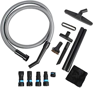 Cen-Tec Systems 95259 10 Ft. Home and Shop Vacuum Hose with Expanded Multi-Brand Power Tool Dust Collection Adapter Set and Full Attachment Kit, Black