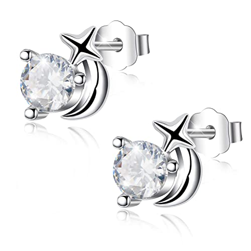 Sterne Ohrstecker 925 Sterling Silber Zirkonia Kristall Damen Mädchen Ohrhänger