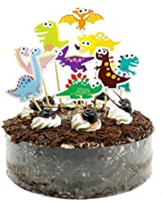 Elenxs 9pcs Cartoon Dinosaur Cupcake Toppers Happy Birthday Party Decorations for Cake Flag Baby Shower