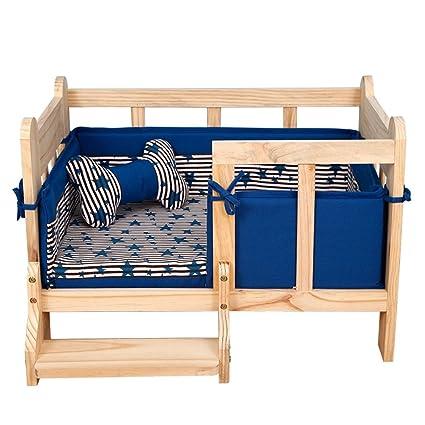 YIXIN Cama del animal doméstico Marco de la cama de madera Ninguna pintura no tóxica con