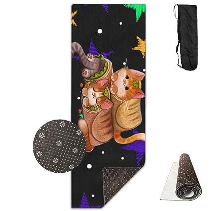 Amazon.com : FHIEOMAT Unisex Cat Burrito Taco Print Yoga And ...