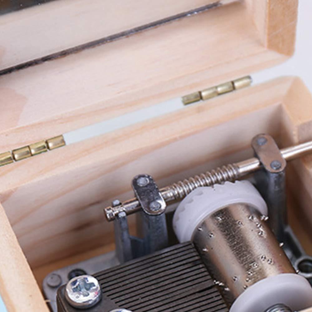 Ruiting Wooden Music Box White Cartoon Unicorn Carved Clockwork Music Box Kid Gift Mini Hand Crank Music Box