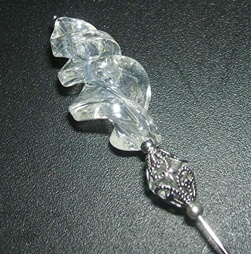 CLEAR SWIRLED GLASS Stick Hat Pin Long Hatpin Vintage Style Silver Plated