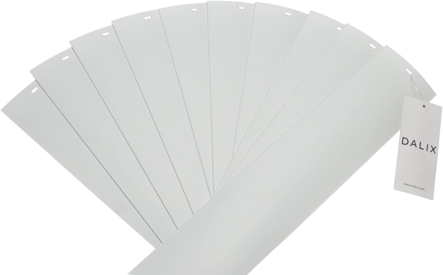 DALIX PVC Vertical Blind Replacement Slats Curved Smooth White 82.5 x 3.5 (10-Pack)