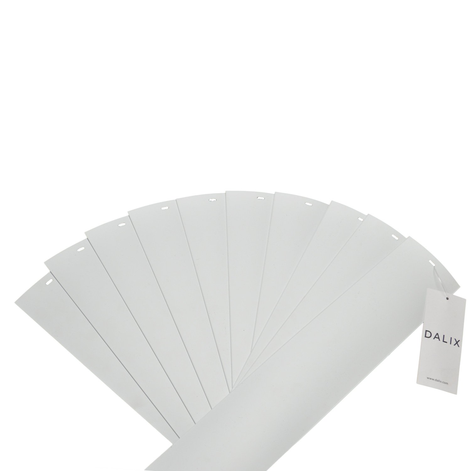 DALIX PVC Vertical Blind Replacement Slats Curved Smooth White 98.5 x 3.5 (5-Pack) PVC-SC-White-98.5-(5-Pack)