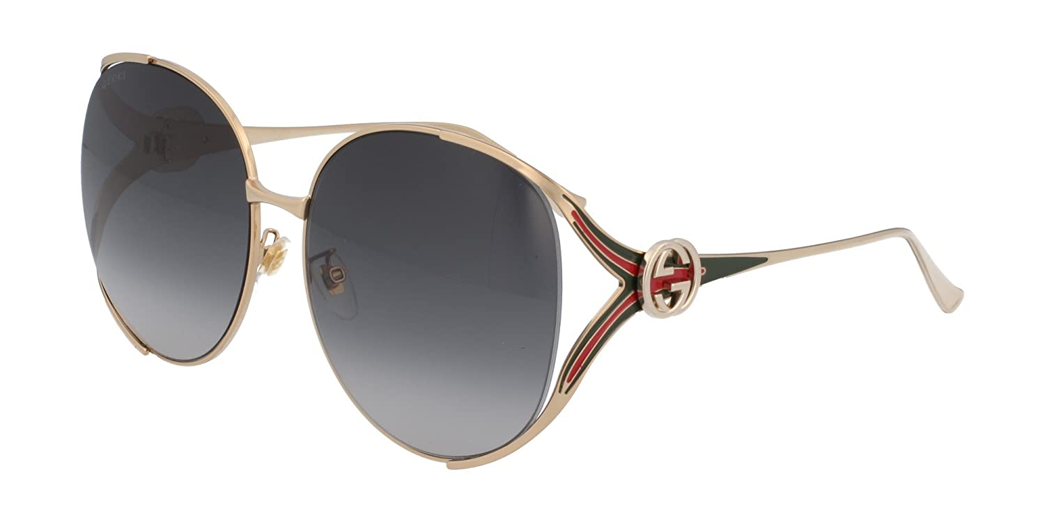 d614acac1e8 Amazon.com  Gucci GG0225S 001 Gold GG0225S Round Sunglasses Lens Category 3  Size 63mm  Clothing