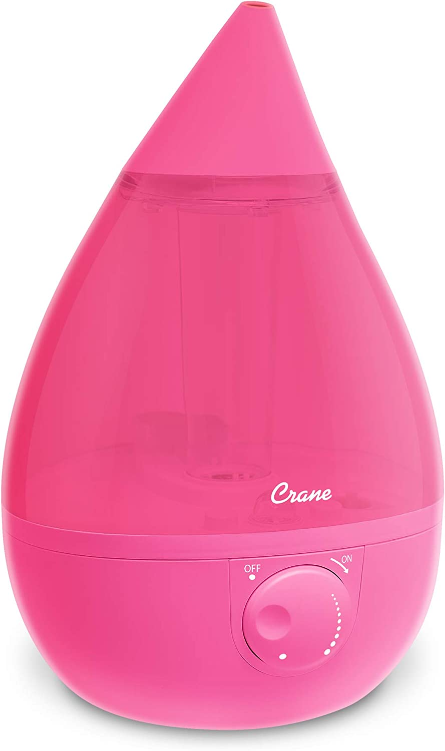 Crane Drop Ultrasonic Cool Mist Humidifier, Filter Free, 1 Gallon, 500 Sq Ft Coverage, Air Humidifier for Plants Home Bedroom Baby Nursery and Office, Pink