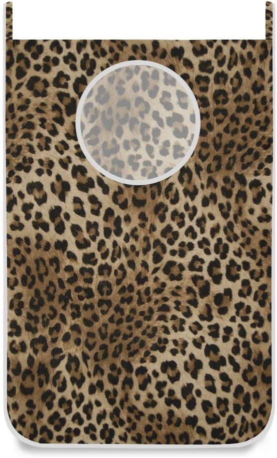 Sexy Leopard Print Door Hanging Laundry Hamper Bag Space Saving Wall Large Laundry Basket Storage Dirty Clothes Bags with Bottom Zippers Hooks for Bathroom Bedroom 1 Pcs