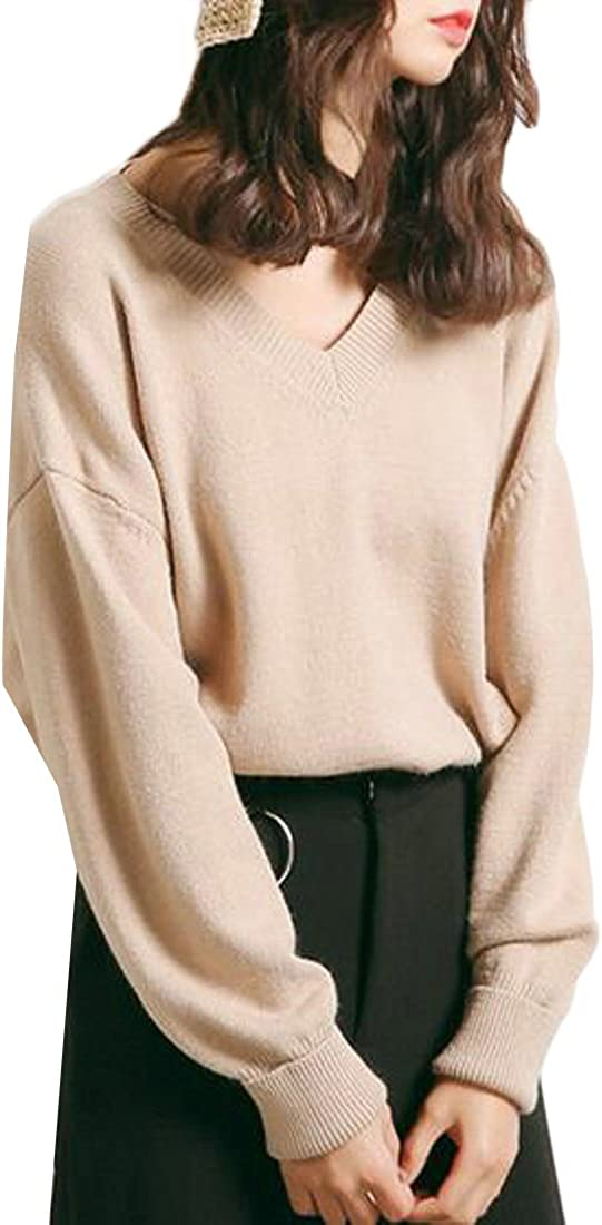 RRINSINS Womens Long Sleeve Knitted Pullover V Neck Sweater Casual Jumper Tops