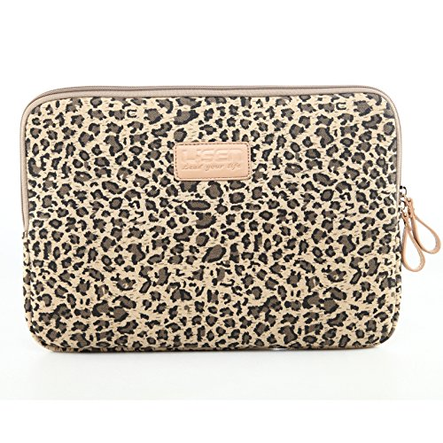 NEWSTYLE Stylish and Cute Leopard's Spots Leopard Print Style Canvas 14 Inch Laptop / Notebook Computer / Dell / HP / Lenovo / Sony / Toshiba / Acer etc. Ultrabook Computer Sleeve Carrying Case Bag Cover