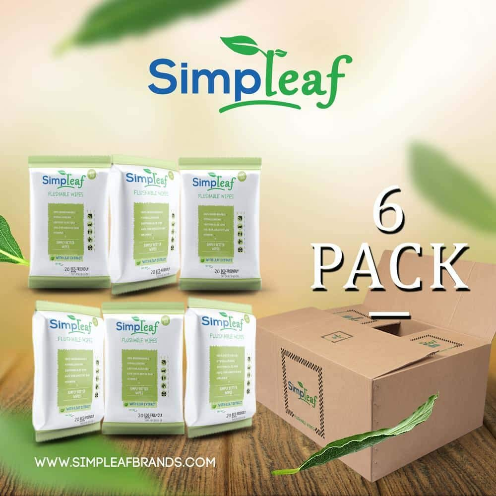 Simpleaf Flushable Wipes: Eco- Friendly, Thick and Effective, Paraben and Alcohol Free, Hypoallergenic and Safe for Sensitive Skin, Vitamin E with Soothing Aloe Vera (6 Packs) by Simpleaf