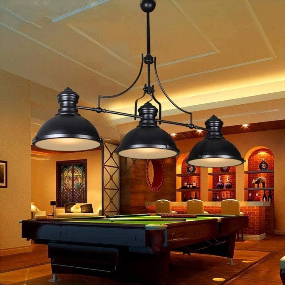 Woodtree Rústicas Negro Luces de Mesa de Billar, Ajustable lámpara de araña de Metal Industrial for la Sala de Estar Comedor Isla Luces Mesa de Billar (3 Cabezas de la lámpara): Amazon.es: