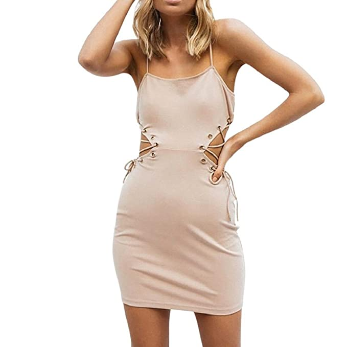 PAOLIAN Damen Kleider, Frau Ärmellos Bodycon Minikleid Clubwear ...